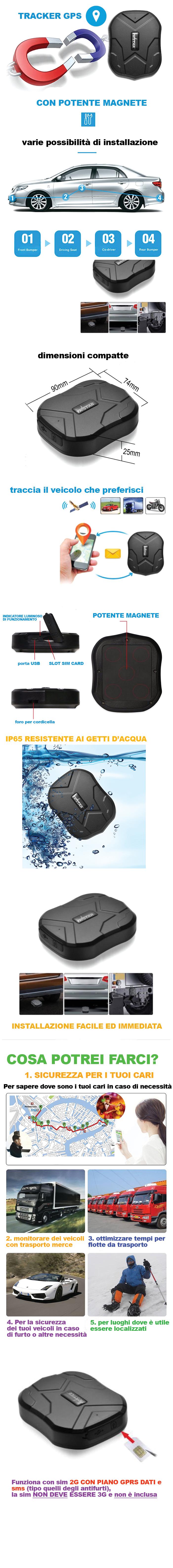 Localizzatore GPS per auto e moto scheda SIM inclusa con magnete localizzatore di veicolo e moto